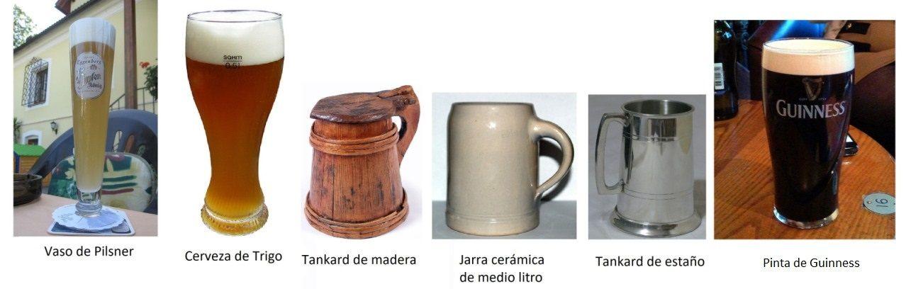 Recipientes de coctelería: Cervezas (via Wikipedia)