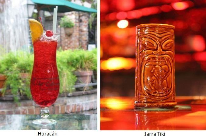Recipientes de coctelería: Copa Huracán y jarra Tiki (via Wikipedia)