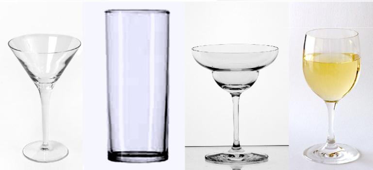 Recipientes de coctelería. Modelos y usos.